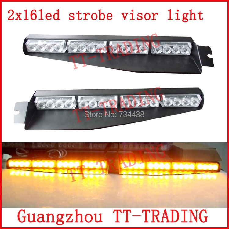 2x16led Police strobe lights car visor light vehicle dash board led emergency lights car warning lamp DC12V RED BLUE WHITE AMBER 54 led emergency vehicle strobe lights bars warning deck dash grille amber white