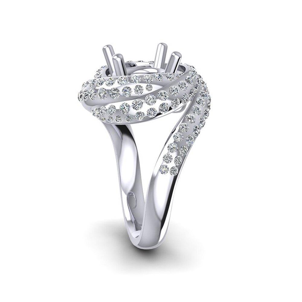 Caimao Nuovo Disegno 8.5 millimetri Rotonda 14k White Gold 1.15ct Naturale Completa Cut Diamond Prong Anello - 3