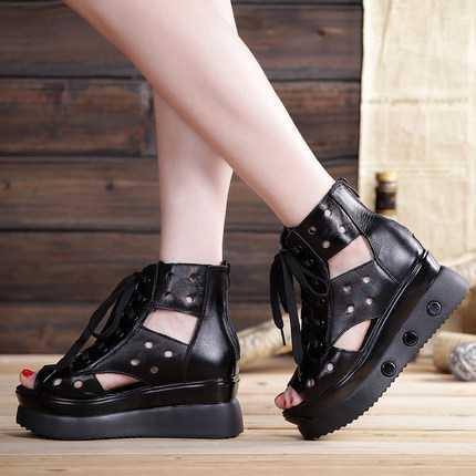 ФОТО Orange/Black 2014 New Fashion High Heels Wedges Platform Shoes Fish Mouth Sandals Roman Genuine Leather Shoes For Women D2598