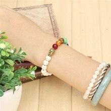 Bracelet with 7 Chakra Stones & Buddha Head