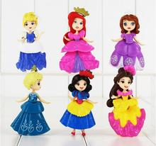 6pcs/lot  Princess PVC Figures Cute Ariel Cinderella Snow white Sofia Bella Sleeping Beauty Action Model Dolls