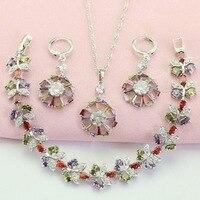 WPAITKYS Trendy Wheel Multicolor Crystal Silver Color Bridal Jewelry Sets For Women Drop Earrings Bracelet Pendant