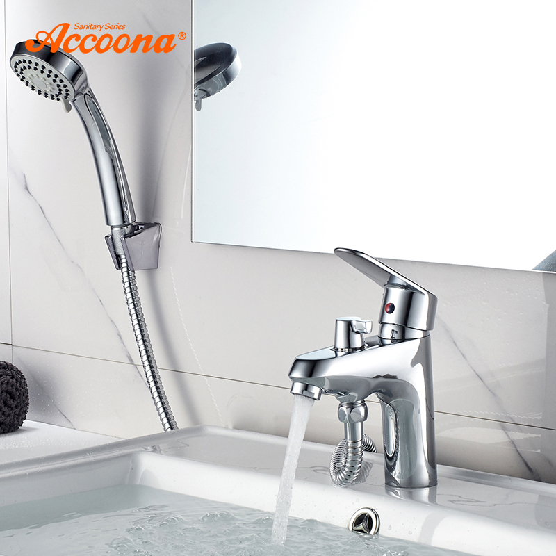 Accoona Bathroom Basin Faucet Chrome Single Handle Tap Sink Faucet Mixer With Shower Head Hot And Cold Water Hose Faucets A9369