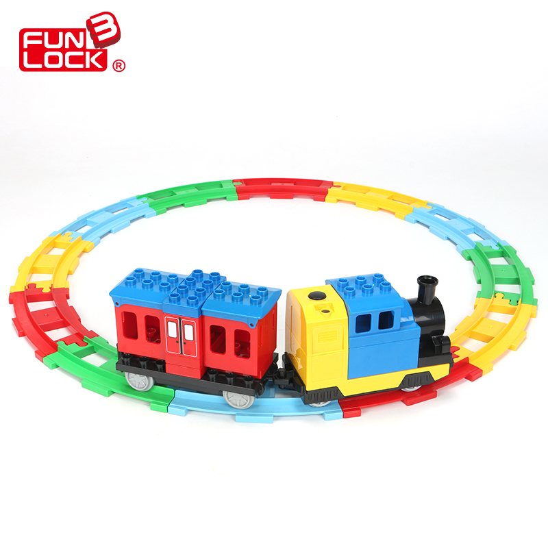 Funlock Duplo Building Blocks Toys Train Set with Railway Assemble Bricks Creative Educational Gift Present for Kid Children