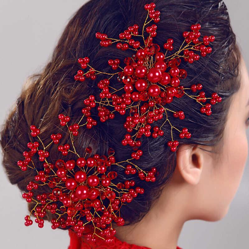 Vòng tay Trung Quốc Cưới Phụ Kiện Tóc Trắng Đỏ Cô Dâu Mũ Đội Đầu Cô Dâu Tóc Ngọc Trai Mặt Lược Với Cây Nho Dành Cho Nữ Trang Sức