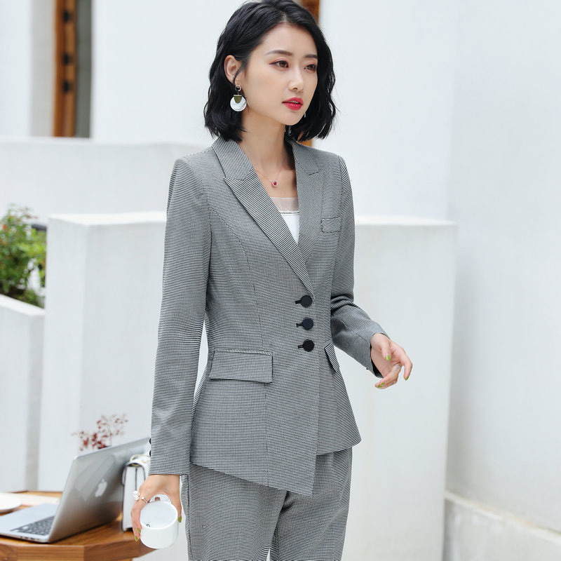 Suits Bureau Formelle plaid La Unique black Ensemble white Pants Dame Et Costume Pièces Femmes 2 Pants Black 2019 Blazer À Veste Pour Travail Suits Costumes Feminino Mode Les Suits Skirt Poitrine Plaid Pantalon O4TEqwp
