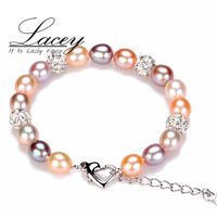 Casamento moda natural de água doce pulseira pérola mulheres, multic cor 925 prata esterlina charme jóias pulseira de presente de aniversário