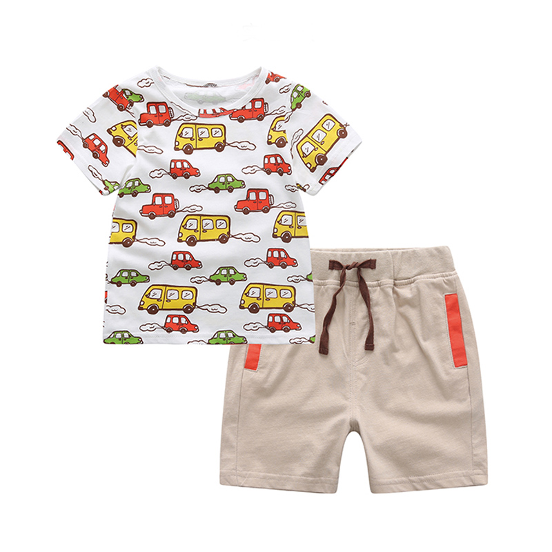 Summer New Arrival Casual Baby Boys Clothing Set white Cartoon Cars Printing T-Shirt Top+Short Pants Ropa De Bebe Baby Suit