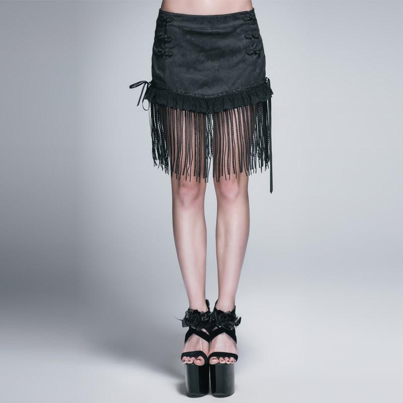 Mode diable gothique Punk femmes Sexy gland Jacquard Mini jupes femme noir décontracté jupes courtes dos à lacets gland jupes