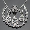 Christmas Gift Women Silver Color Jewelry Sets Multicolor Rainbow White Zircon Necklace Pendant Bracelets Earrings Rings