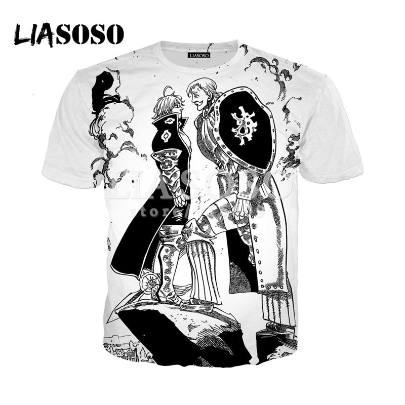 Cool New Retro Nanatsu No Taizai The Seven Deadly Sins Black Anime T-Shirt Top
