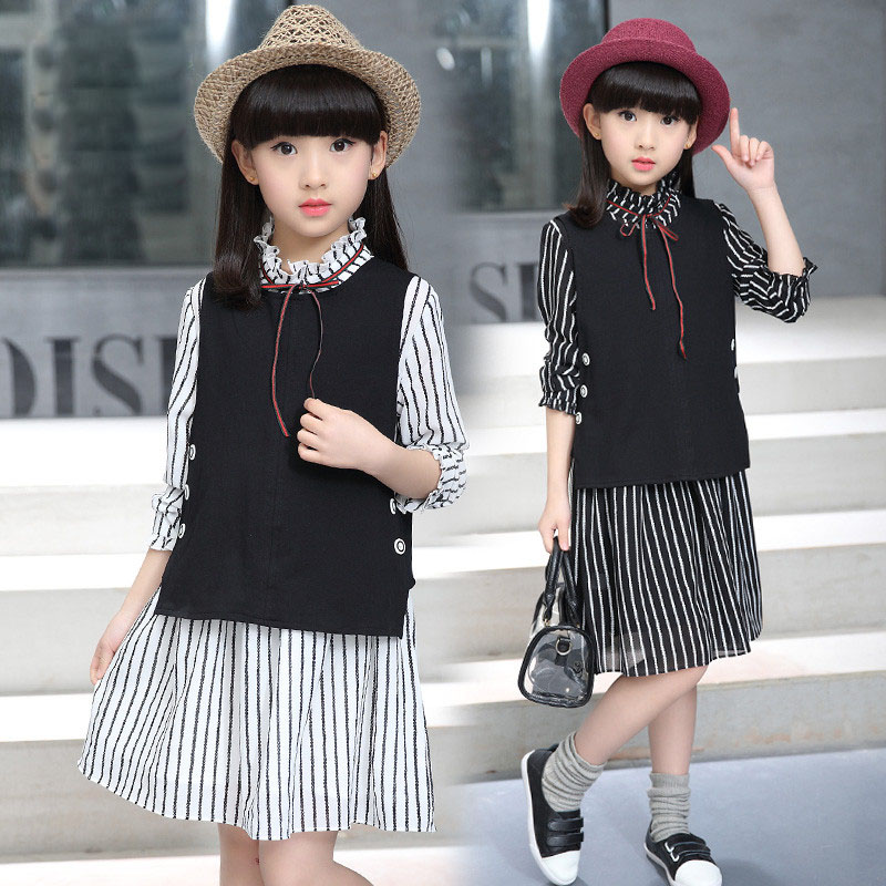 Children with girls spring 2017 new suit 13 years  for kids clothing sets girls Stripe dress  two-piece girl fashion brand spring new kids girls spring dress embroidered two piece suit