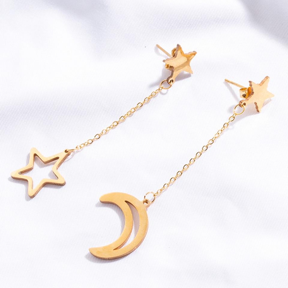 Stainless Steel Stud Earrings Fashion Charm Goldne Silver Colour Heart Star Moon Stainless Steel Women's Earrings Trendy Jewelry