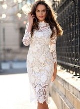 Formal Dress Women For Party Boho Chic Tight Pencil Dresses Plus Size Elegant White Bodycon Sexy Lace Knee Length Dress Frocks