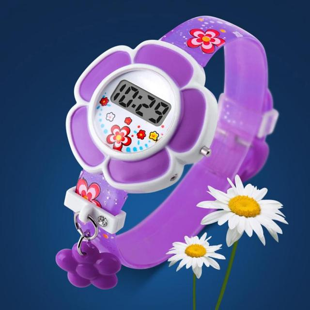 New Lovely Flower Watches Cute Kids Watches Cartoon Silicone Digital WristwatchC