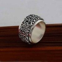 - серебро 925 чистого серебра тайский серебряное кольцо перегружаемой мужчин-большой элегантный безымянный палец кольцо