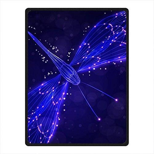 Custom Glowing Blue Dragonfly Fleece Throw Blanket Full Size 58 x 80