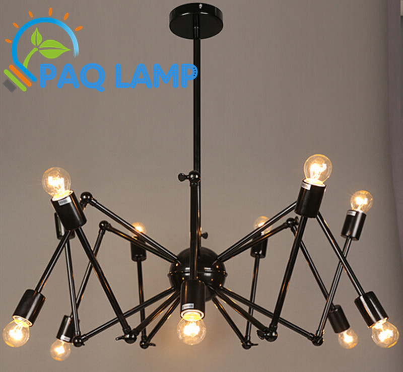 vintage lighting chandeliers lamp iron Fold  pipe The spider lights with edison bulbs bar coffee lamp