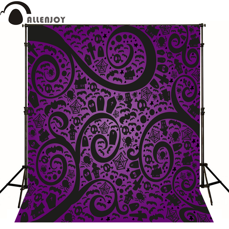 Allenjoy photographic background Purple Halloween Skull Cross kids vinyl send rolled fabric wallpaper