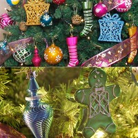 52Pcs Christmas Tree Hanging Ornaments Set Plastic Baubles Ball Pinecone Decoration Kit XHC88