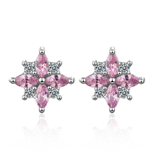 Everoyal New Top Crystal Pink Snowflake Stud Earrings For Women Jewelry Vintage Silver 925 Sterling Accessories Female
