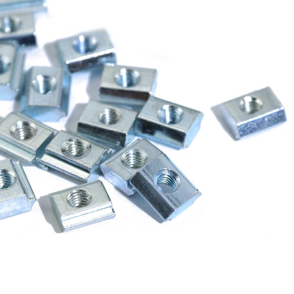 100 pces 50 pces 20 pces m3 m4 m5 m6 t bloco quadrado porcas t-trilha deslizante martelo porca para prendedor perfil de alumínio 2020 3030 4040 4545