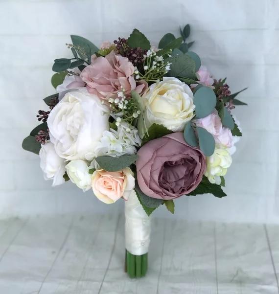 Prices Of Wedding Flowers: New Beautiful Dusty Rose Bridal Bouquet, Blush Wedding