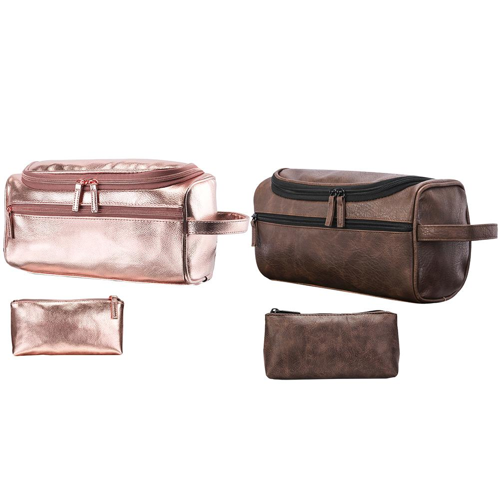 Leather Toiletry Bag Travel Toiletry Organizer Portable Hanging Makeup Pouch Dopp Kit Shaving Cosmetic Bag For Women