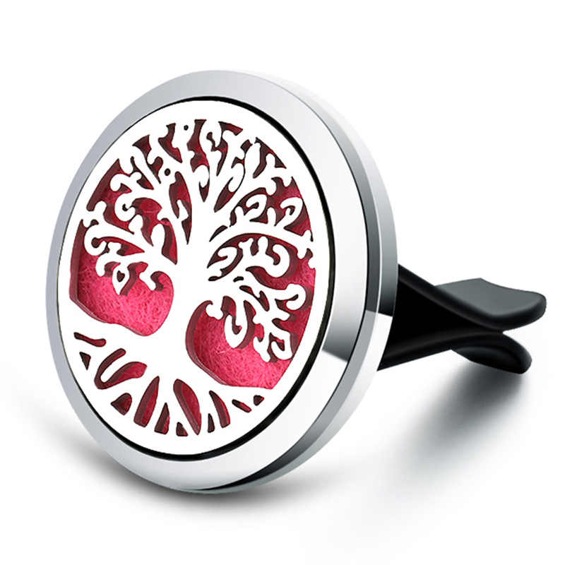 New Tree Of Life Car Aromatherapy Diffuser Stainless Steel Air Vent Freshener Car Essential Oil Diffuser Perfume Lockets Jewelry