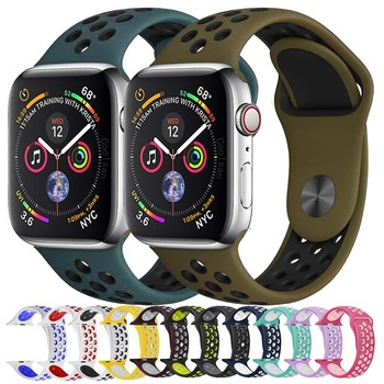 New color Sport Silicone band for Apple Watch strap nike 4044MM 4238MM Bracelet wrist Watch band For iwatch 432 Accessories цвета apple watch 4