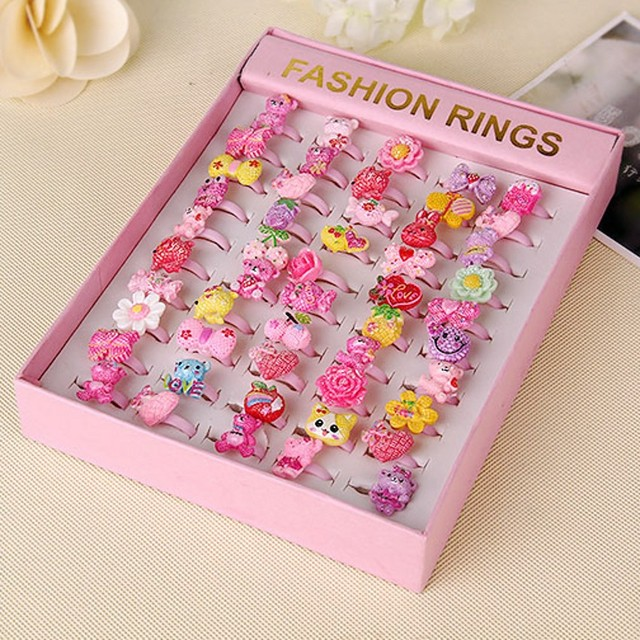 Wholesale Rodom Color Eco-friendly DIY Cute Children Ring Kids Girl Kawaii Fashion 50pieces/lot Promotional Discounts Hot Sales