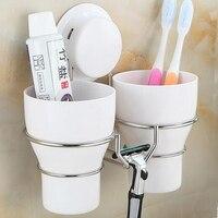 Haute Qualité en acier Inoxydable mur brosse à dents titulaire ensemble + 2 lavage brosse à dents tasse Tasse De Stockage décoratif salle de bains accessoires.