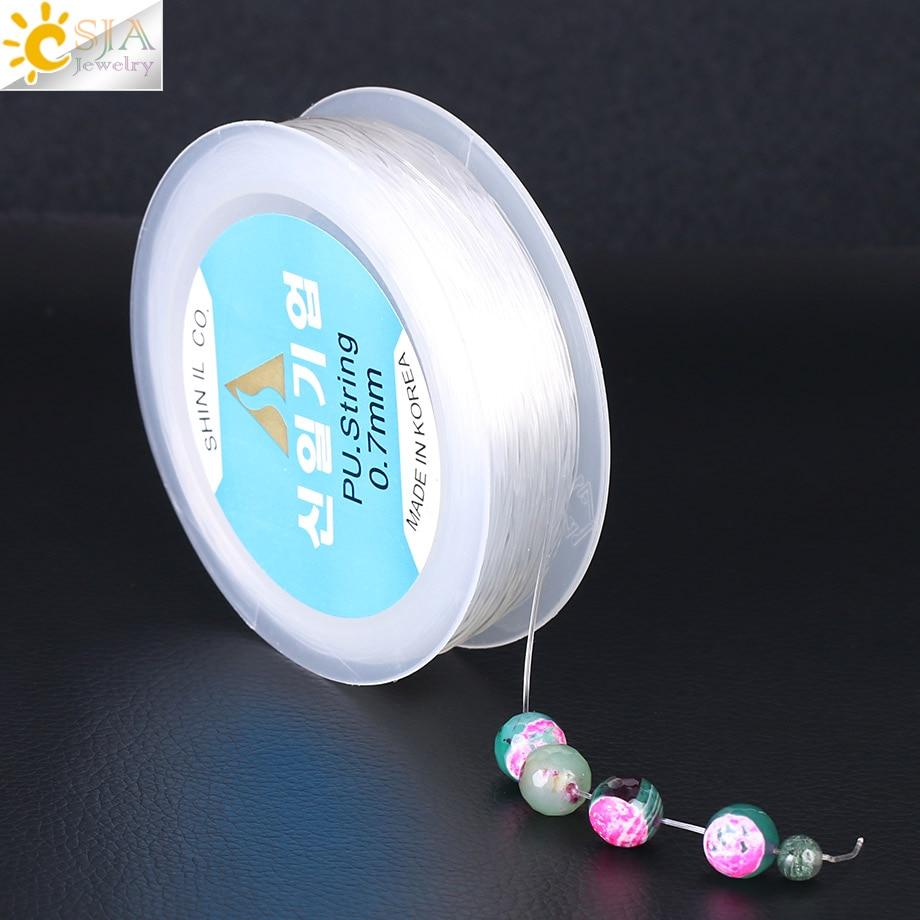 CSJA 38M Elastic Thread Transparent String Crystal Rope 0.5 0.6 0.7 0.8 1mm Cord Line Jewellery DIY Beads Bracelets Making F365