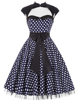 Summer 50s 60s Polka Dot Retro Vintage Dresses 2018 Womens Clothing Big Swing schwarz kleid Dancing Party Women Dress kleider