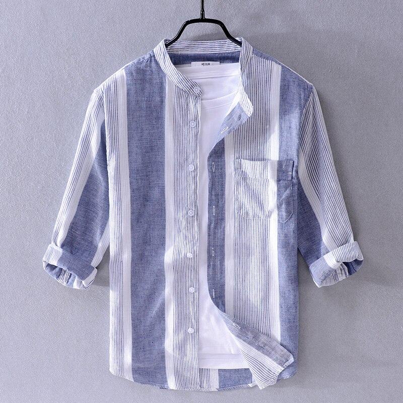 2019 Summer Cotton And Linen Shirt Men Brand Striped Shirts Men Fashion Three-quarter Sleeve Stand Colalr Shirt For Men Camisa