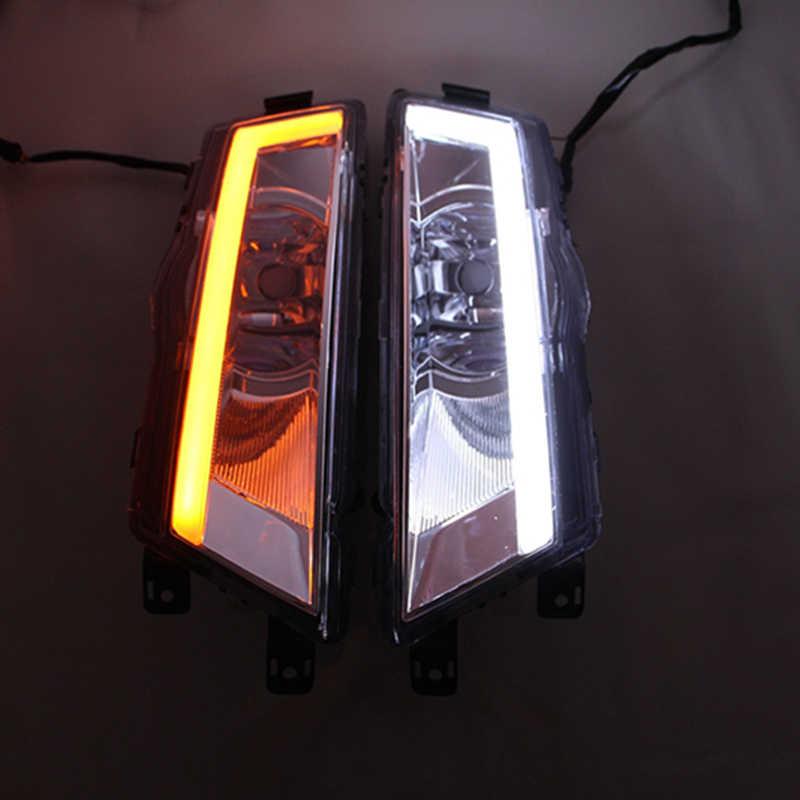 Reflektory samochodowe 2 sztuk DRL dla Skoda Rapid 2013 2014 2015 z żółtym kierunkowskazem 12V samochodów DRL światła do jazdy dziennej led światła przeciwmgielne