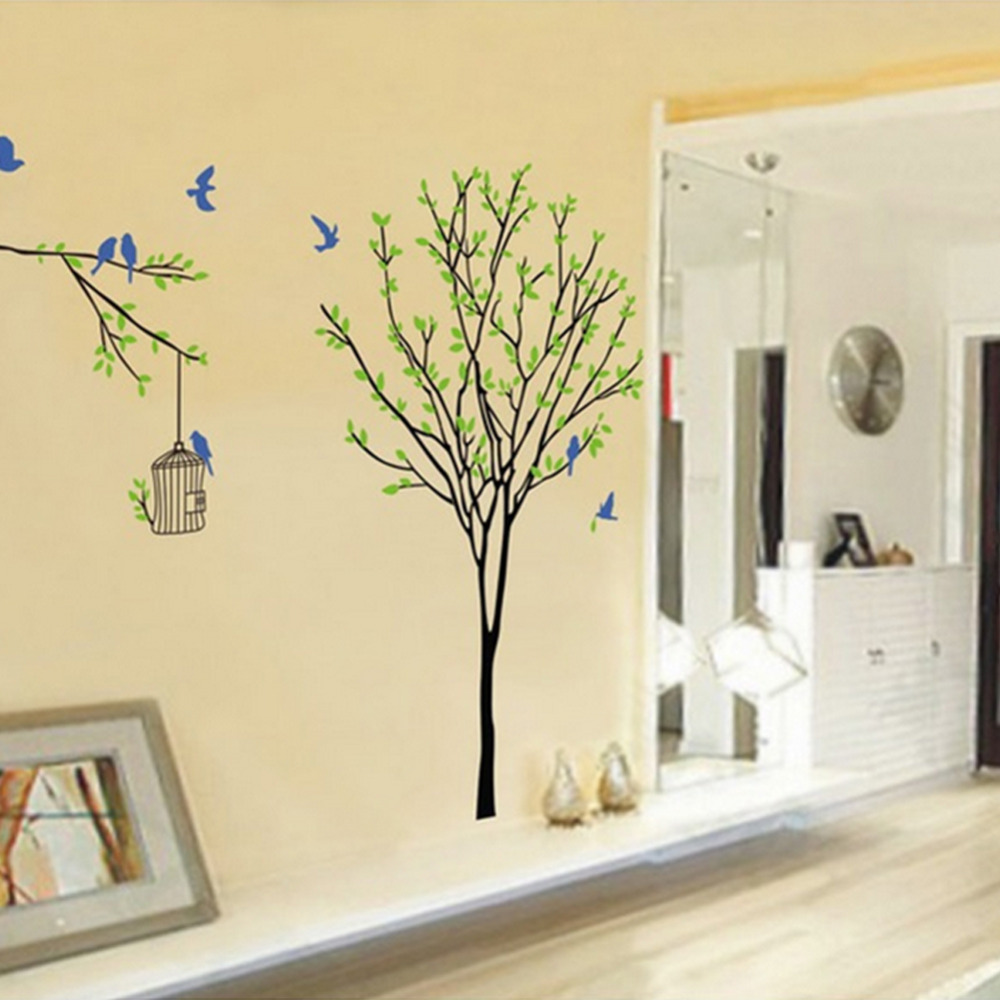 1Pc Trees Birdcage Wall Sticker Living Room Children Bedroom Wall ...