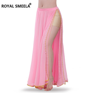 Image 4 - Hot Sale 2020 belly dancing training skirts belly dance costumes practice dress & performance sexy split belly dance skirt 6009