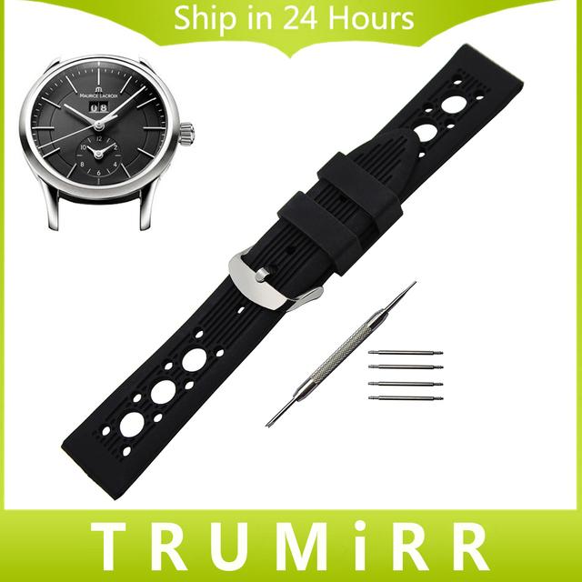 Pulseira de borracha de silicone para pontos maurice lacroix masterpiece relógio de pulso banda strap pulseira 19mm 20mm 21mm 22mm 23mm 24mm