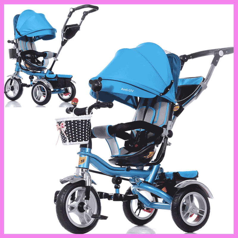 Swivel Seat Baby Tricycle Bike Children Bicycle Stroller Trolley Three 3 Wheel Baby Carriage Child Pram Buggy Pushchair 6M~6Y baby stroller pram bb rubber wheel inflatable tires child tricycle infant stroller baby bike 1 6 years old bicycle baby car