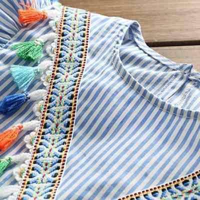 Musim Panas Mommy dan Saya Pakaian Baru Fashion Harian Garis Ibu Putri Gaun Bayi Mini Gaun Wanita Vestiti Mamma E Figlia