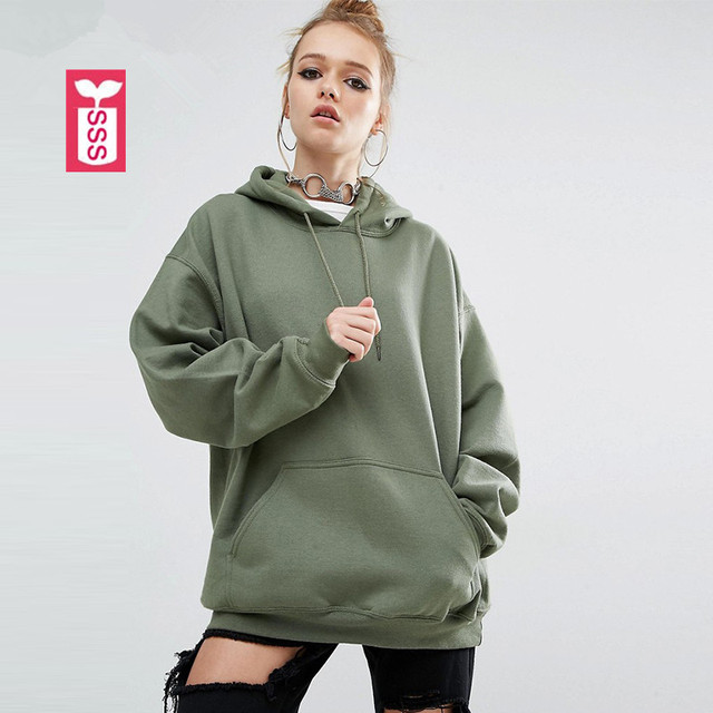 b499bf47cbfc SSS Oversize Autumn Womens Cotton Long sleeve Army Green Sweatshirts Ladys  Loose Hat Hoodies Big Pocket Clothing Streewear