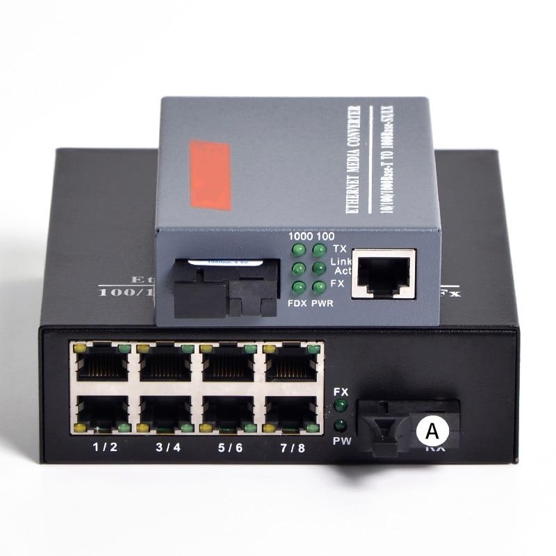 Convertisseur de média Fiber optique Gigabit 1000 mbps mode unique 1 CH * SC 8 CH * RJ45 émetteur-récepteur 1 CH * SC 1 CH * RJ45