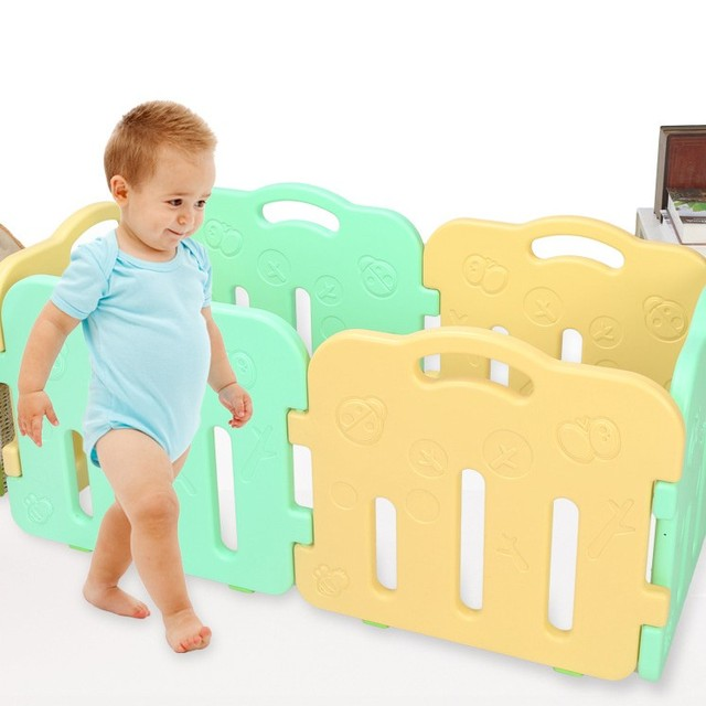 New Design Colorful Kids Play Fence Fashion Baby Toddler Activity Walking Crawling Game Fence Safe Protection Space