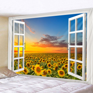 Falling Sunflower Print Large Wall Tapestry Cheap Hippie Wall Hanging Art Carpet Bohemian Decorative Living Room Big Blanket