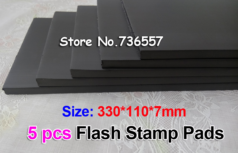 5pcs 330x110x7 or4 Mm Flash Stamp Pad Cushion Rubber Stamp Plate Materials Photosensitive Self Inking Stamping Making
