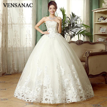 VENSANAC 2018 Crystal Strapless Sequined Ball Gown Wedding Dresses Lace Appliques Off The Shoulder Backless Bridal Gowns цена и фото