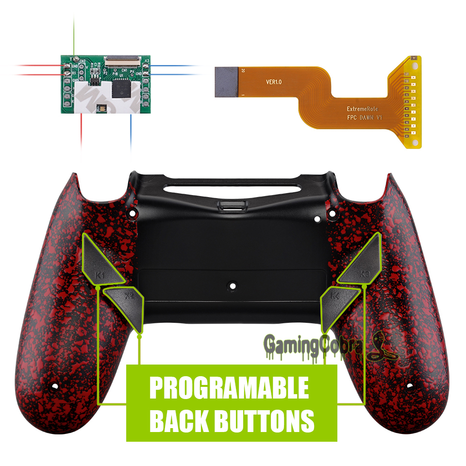 Textured Red Dawn Programable Remap Kit for PS4 Slim Pro Controller <font><b>JDM</b></font> 040/050/<font><b>055</b></font> w/ Custom Back <font><b>Shell</b></font> & 4 Back Buttons image