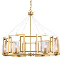 European 6 head chandelier lamp glass copper American style living room bedroom dining creative home hotel shop art decorative