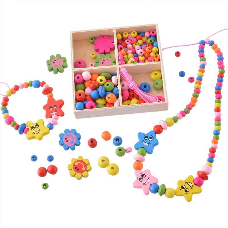 DIY Accessories Beads Multicolor Wooden Beaded Box Jewelry Toys Gift For Children Necklace Bracelet Crafts Kids Jewelry